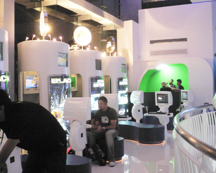 A section of game consoles in the store