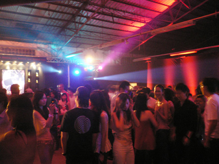 Inside the hangar as party winded down