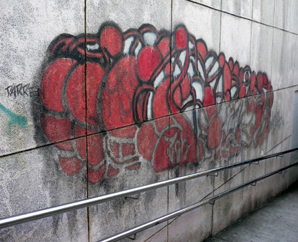 Graffiti near an underpass by the reservoir