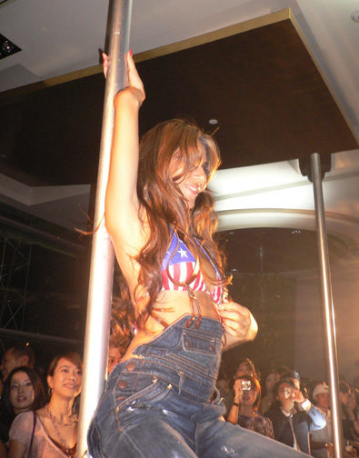 Pole dancing on the runway!
