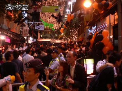 Packed and festive Lan Kwai Fong