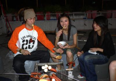 Fishballs 'n' hotdogs at the rooftop BBQ!