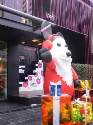 Bearbrick-like Santa welcomes visitors to Playground