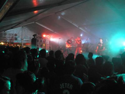 Hardpack performing in the tent.