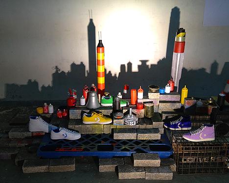 converse sneaker hk cityscape installation art hong kong china