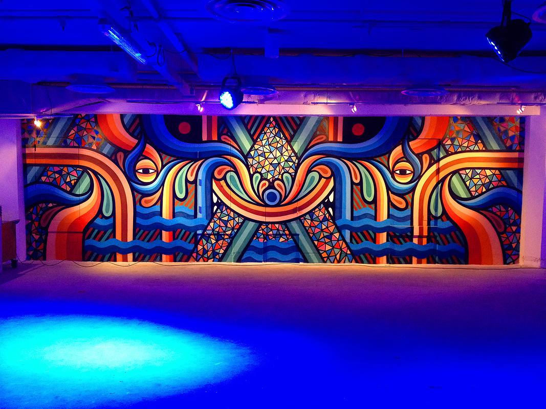 Neon Golden Australian Street Art Exhibit Above Second
