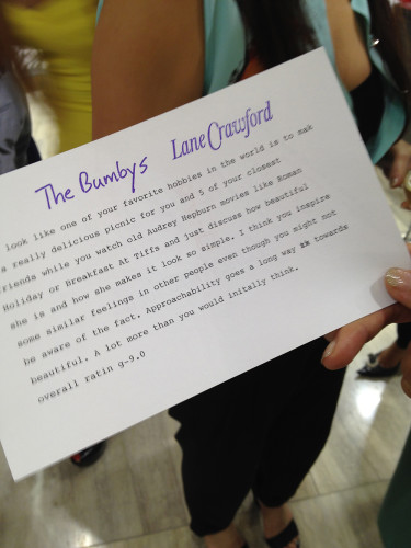 the bumbys appraisal note fashion night out fno lane crawford