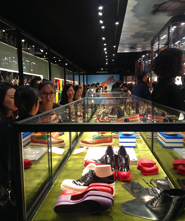 pradasphere hong kong shoe fashion clothing exhibit store prada